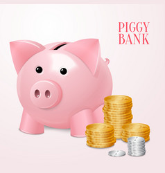 Piggy bank with coins print vector image