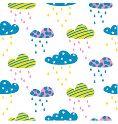 rainy clouds seamless pattern vector image