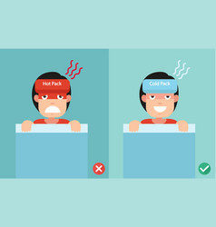 right and wrong ways of using cold and heat packs vector image vector image