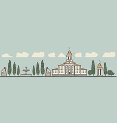 seamless horizontal ornament old european city vector image
