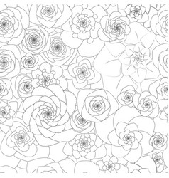seamless white pattern with large flowers vector image