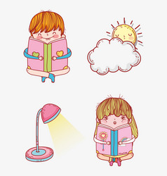 set girl and boy read book with lamp and sun vector image