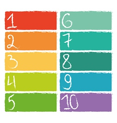 Set of ten colorful numerical rectangles vector image