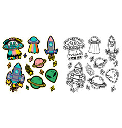 Set space stickers vector
