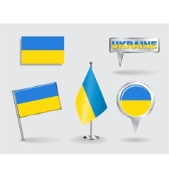set ukrainian pin icon and map pointer flags vector image