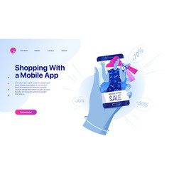 shopping online on website or mobile application vector image