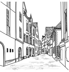 street view in old city cityscape - houses vector image