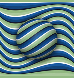 striped ball rolling along striped surface vector image