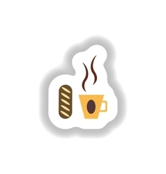 Stylish paper sticker Cup of coffee and a bun vector