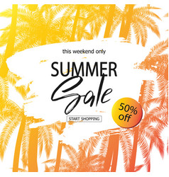 Summer sale banner tropical background with palm vector