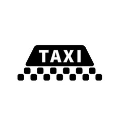 taxi sign silhouette black icon on white vector image