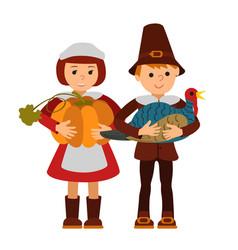 Thanksgiving day children apples and turkey vector