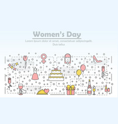 thin line women day poster banner template vector image