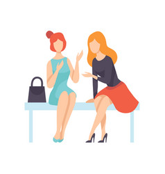 Two beautiful women friends sitting on bench and vector