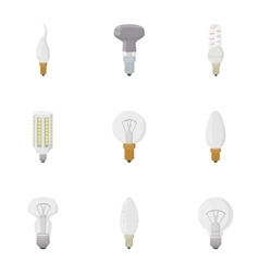 Types of lamps icons set cartoon style vector
