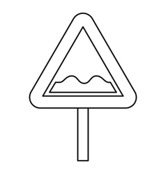 Uneven road sign icon outline style vector