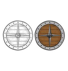 viking round shield hand drawn sketch vector image