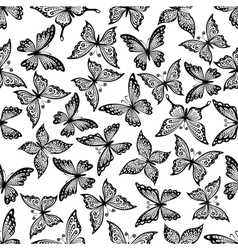 Vintage ornamental butterflies seamless pattern vector image