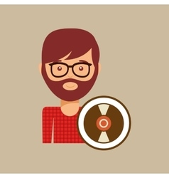 vinyl record music man hipster vector image