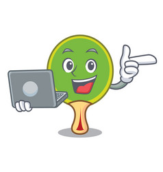 with laptop ping pong racket character cartoon vector image