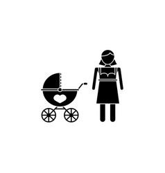 woman with pram icon vector image