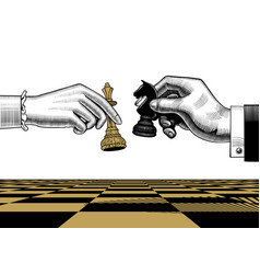 womans and mans hands with king and horse chess vector image