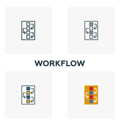 workflow icon set four elements in diferent vector image