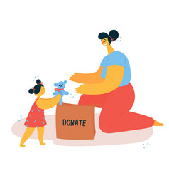 Young woman and child sorts and donate things vector