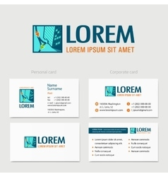 Building logo design with business card vector image vector image