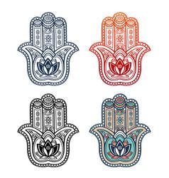 Hamsa hand and ethnic ornament tribal style symbol vector