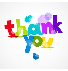 Thank You Colorful Title with Splashes Isolated on vector image