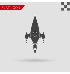black Rocket icon Flat Style with red vector image vector image