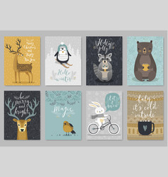 Christmas animals card set hand drawn style vector
