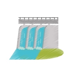 Hydroelectric station plant water dam ed vector