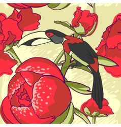 Seamless floral background with peonies bird vector image vector image