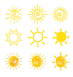 set of yellow sun icons vector image