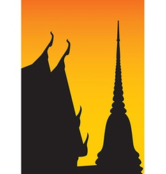 Silhouette of temple and pagoda vector image vector image