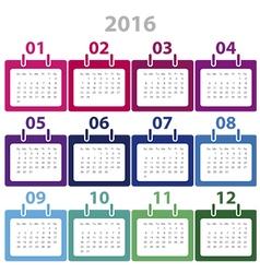 Calender 2016 Minimal Design vector image