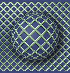 Checkered ball rolling along the checkered surface vector