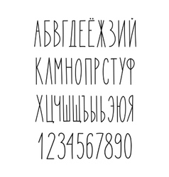 Doodle russian cyrillic narrow alphabet vector image