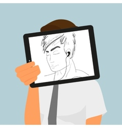 Guy holds tablet pc displaying hand drawing vector image vector image