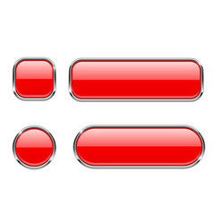 red glass buttons with chrome frame set of blank vector image
