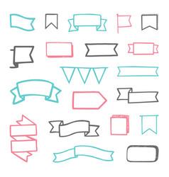 set of hand drawn sketchy ribbons vector image