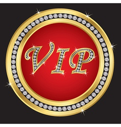 Vip golden label with diamonds vector image vector image