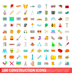 100 construction icons set cartoon style vector image vector image