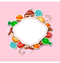 Background with colorful sticker candy sweets vector image