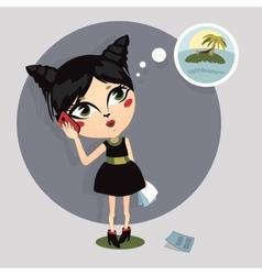 cartoon girl talking on the phone vector image vector image