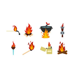 fire icon set flat style vector image vector image