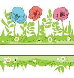 Floral borders Green grass and flowers field vector image vector image