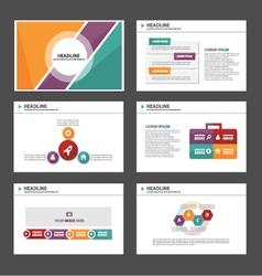 Orange purple green presentation templates set vector image vector image